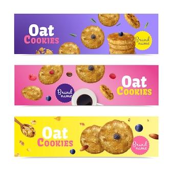 Conjunto de três banners horizontais de biscoitos de aveia realistas
