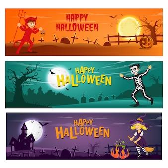 Conjunto de três banners horizontais de halloween com crianças de texto e personagem de desenho animado em traje de halloween