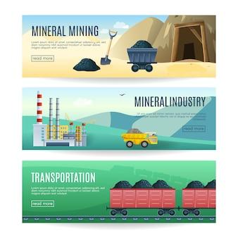 Conjunto de três banners horizontais de indústria de mineração mineral e transporte