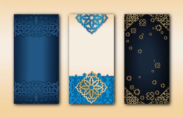 Conjunto de três banners islâmicos árabes com padrões geométricos