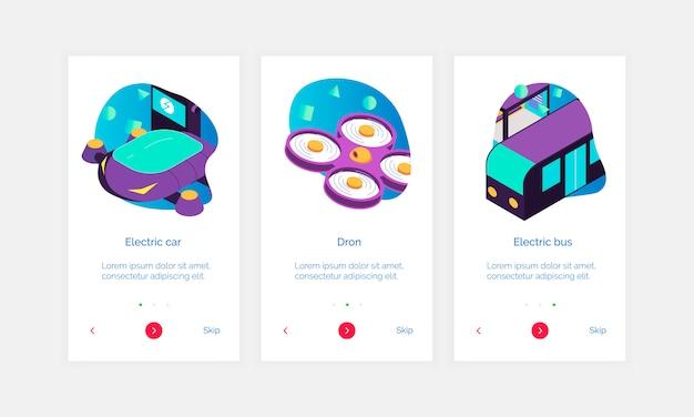Conjunto de três banners isométricos cidade inteligente com botões de texto e imagens de doodle de transporte elétrico