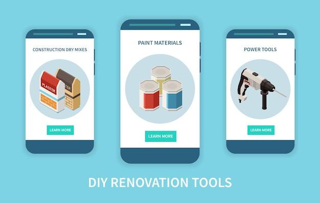 Conjunto de três banners isométricos com ferramentas e materiais para renovação