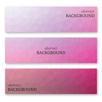 Conjunto de três banners rosa em estilo de arte low poly. plano de fundo com lugar para o seu texto. ilustração vetorial