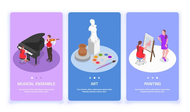 Conjunto de três banners verticais com imagens e botões isométricos de profissões de pessoas criativas