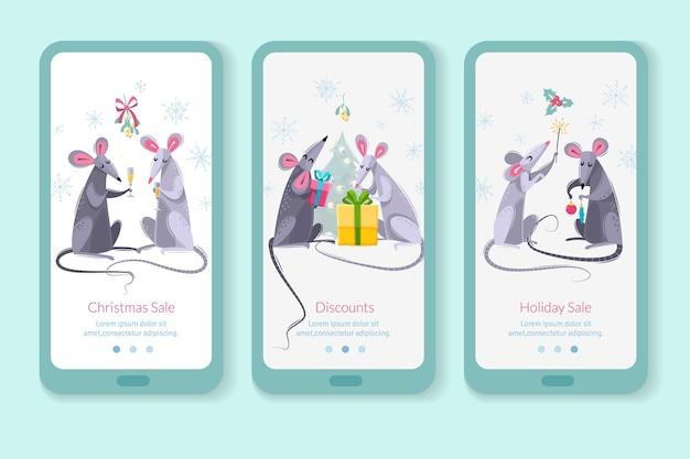 Conjunto de três banners verticais com personagens de desenhos animados ratos ratos