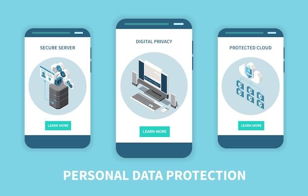 Conjunto de três banners verticais com proteção de dados pessoais