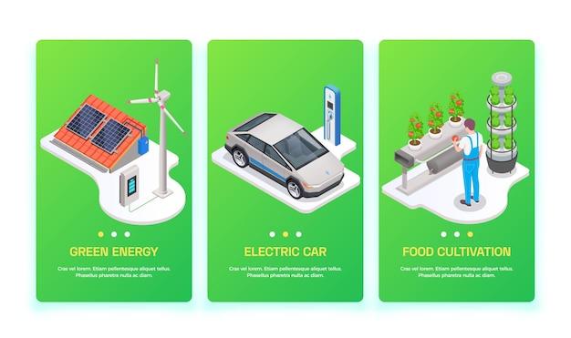 Conjunto de três banners verticais de tecnologia ecológica com ilustração isométrica