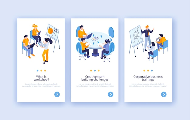 Conjunto de três banners verticais de treinamento empresarial isométrico com texto e pessoas dos botões de mudança de página