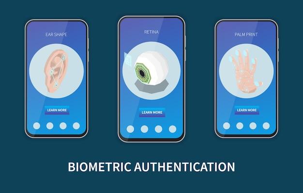 Conjunto de três banners verticais em frames de smartphone para autenticação biométrica