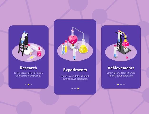 Conjunto de três banners verticais isométricos de química com silhueta de ligação molecular e imagens de cientistas conceituais