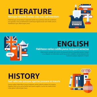 Conjunto de três banners web sobre temas de educação e faculdade