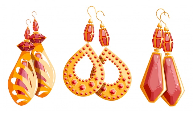 Conjunto de três belo ouro de brincos femininos