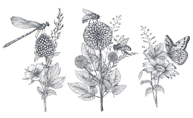 Conjunto de três buquês de flores de vetor com ervas desenhadas de mão preto e branco, flores silvestres e insetos, borboleta, abelha, libélula no estilo de desenho.