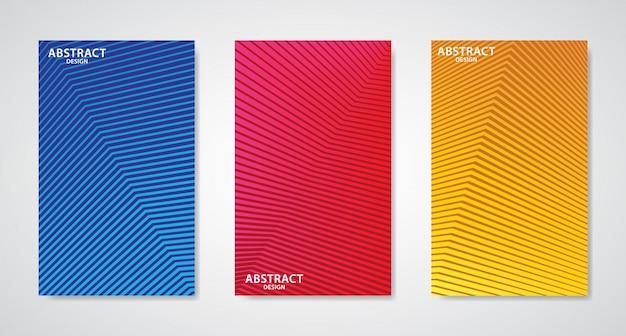 Conjunto de três capas de design de linha abstrata