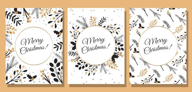 Conjunto de três cartas feliz natal e feliz ano novo.