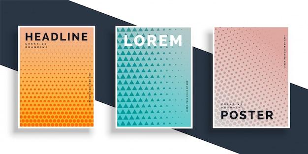 Conjunto de três cartazes panfletos com design padrão
