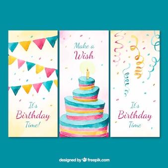 Conjunto de três cartões de aniversário de aquarela