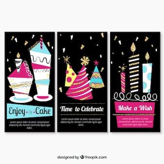 Conjunto de três cartões de aniversário