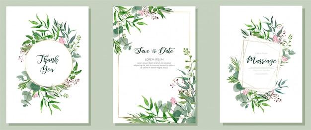 Conjunto de três cartões de casamento, aquarela verde e molduras douradas
