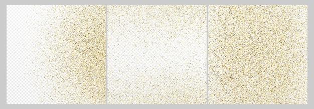 Conjunto de três cenários de confetes de glitter dourados isolados em fundos transparentes brancos. textura comemorativa com efeito de luz brilhante. ilustração vetorial.
