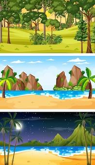 Conjunto de três cenas horizontais de floresta diferentes