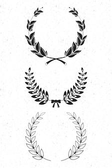 Conjunto de três coroas de louros