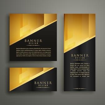 Conjunto de três design de banner dourado premium
