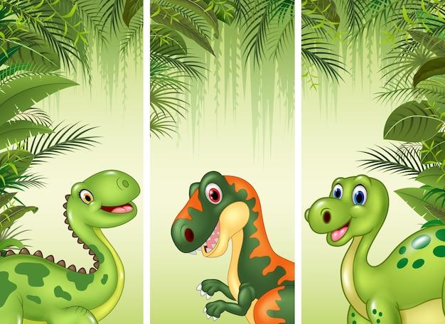 Conjunto de três dinossauros