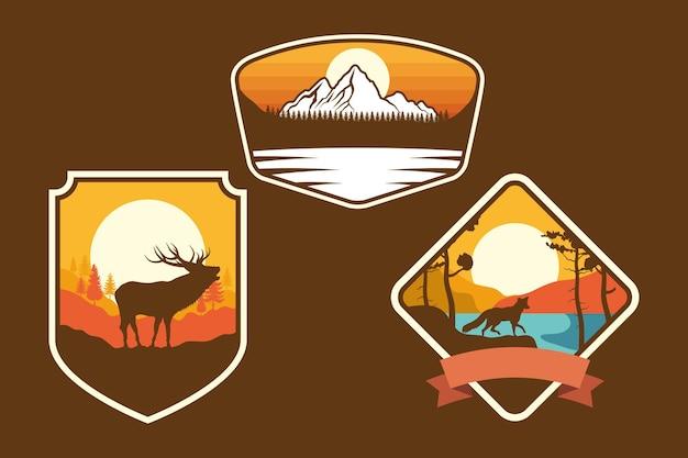 Conjunto de três emblemas de aventura