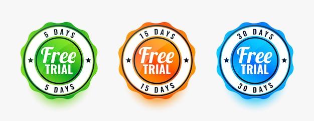Conjunto de três emblemas de teste gratuito