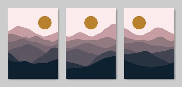 Conjunto de três estética abstrata paisagem moderna de meados do século modelo de pôster boho contemporâneo