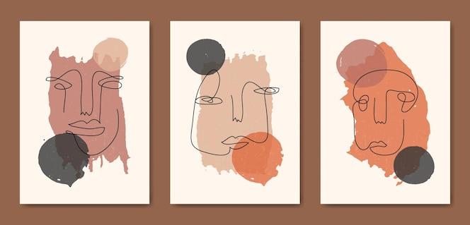 Conjunto de três faces de arte de linha moderna estética abstrata de meados do século modelo de pôster boho contemporâneo