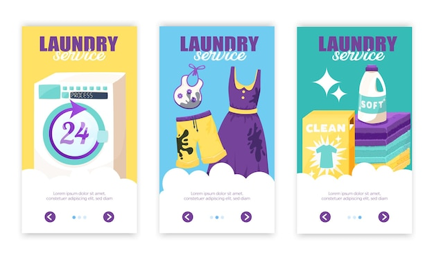 Conjunto de três faixas verticais de lavanderia com texto ornamentado de botões de seta e roupas sujas e limpas