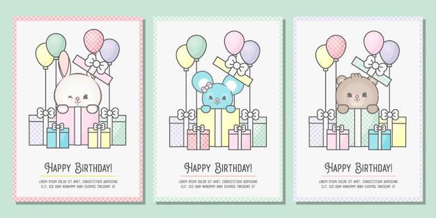 Conjunto de três fofos banners de aniversário