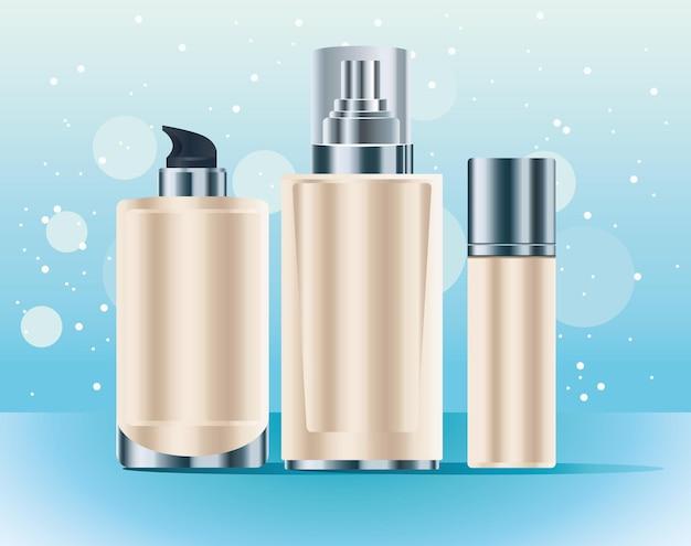 Conjunto de três frascos de cuidados com a pele, cor creme, ícones, ilustração