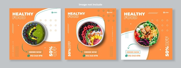 Conjunto de três fundo de memphis simples de banner de promoção de alimentos saudáveis mídia social modelo de pacote premium vector