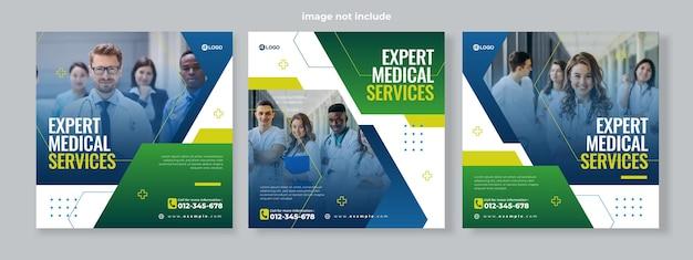 Conjunto de três fundo geométrico hexagonal de vetor de modelo de pacote de mídia social de banner de serviço médico