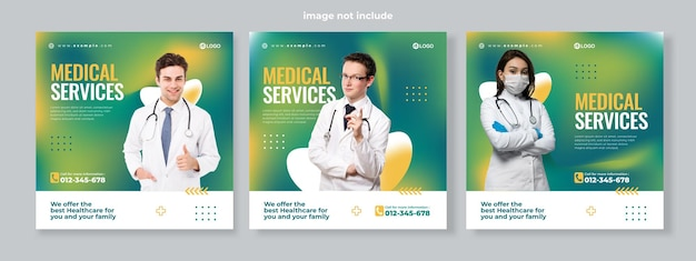 Conjunto de três fundo gradiente fluido de vetor premium de modelo de pacote de mídia social de banner de serviço médico