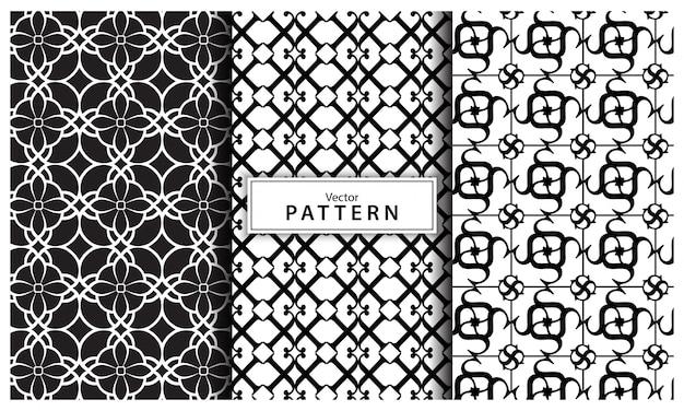 Conjunto de três fundo preto e branco padrão geométrico. linha abstrata, abstrato geométrico sem emenda