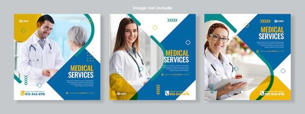 Conjunto de três fundo quadrado arredondado geométrico de banner de serviço médico modelo de pacote de mídia social vetor premium
