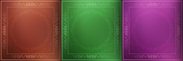 Conjunto de três fundos decorativos de mandala