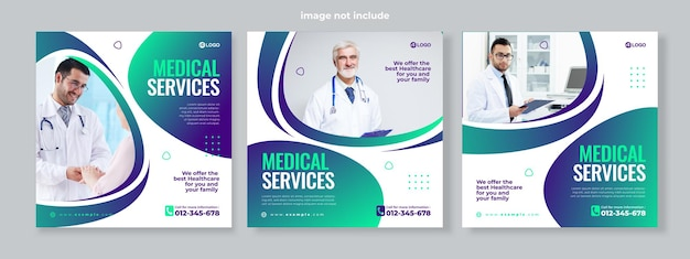Conjunto de três gradientes de fundo geométrico de vetor premium de modelo de pacote de mídia social de banner de serviço médico