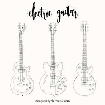 Conjunto de três guitarras elétricas em estilo desenhado à mão