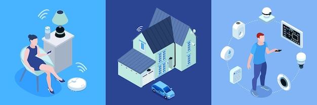 Conjunto de três ilustrações de casa inteligente