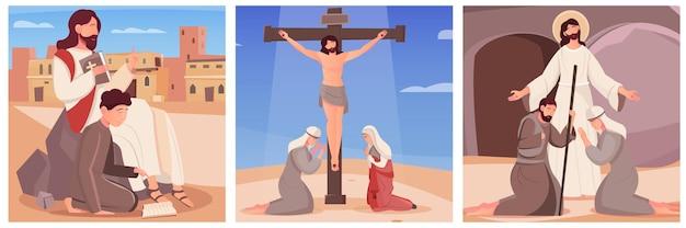 Conjunto de três ilustrações planas com jesus cristo