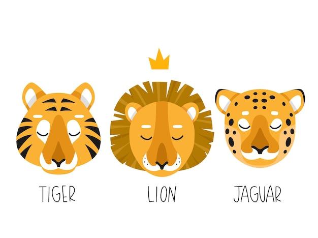 Conjunto de três ilustrações simples de leão, tigre e jaguar
