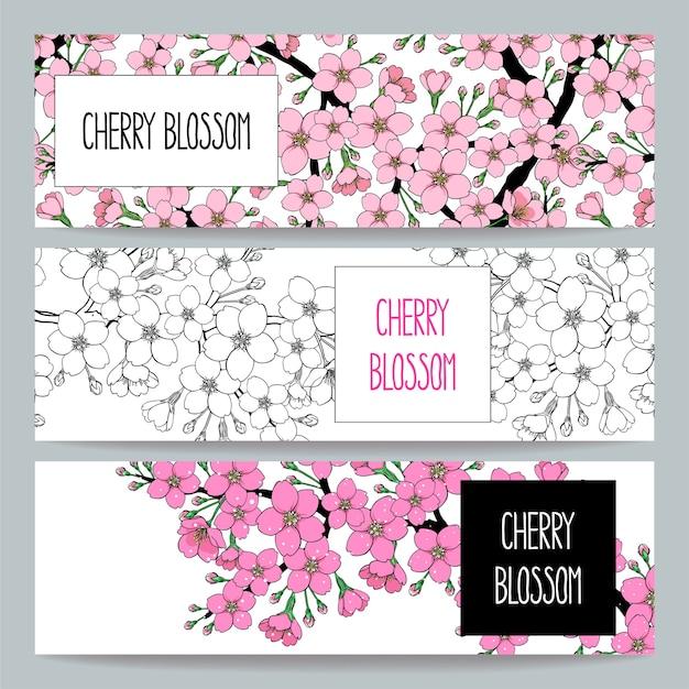 Conjunto de três lindas bandeiras naturais de galho de cerejeira em flor