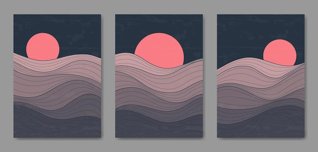 Conjunto de três linha de paisagem moderna estética abstrata meados do século modelo de capa de cartaz boho contemporâneo.