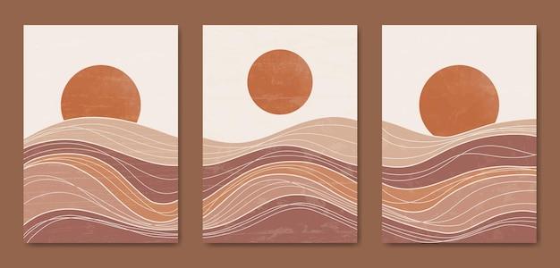 Conjunto de três linha de paisagem moderna estética de meados do século modelo de cartaz boho contemporâneo.