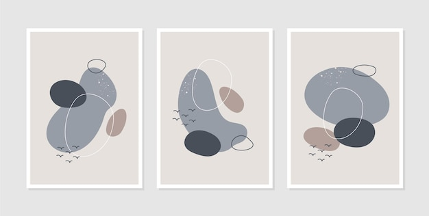Conjunto de três linhas estéticas abstratas de meados do século moderno